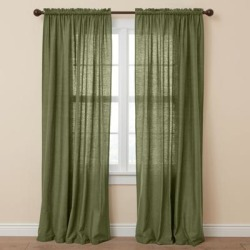 Wide Width Poly Cotton Canvas Rod-Pocket Panel by BrylaneHome in Sage (Size 48