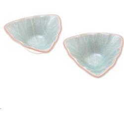 Handmade Luxe Leaves Ceramic Condiment Servers, Set of 2 (Thailand)