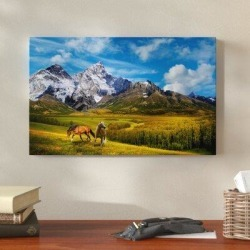 Millwood Pines 'Wild Nature' Oil Painting Print on Wrapped Canvas Metal in Blue/Brown/Green, Size 22.0 H x 32.0 W x 2.0 D in   Wayfair found on Bargain Bro Philippines from Wayfair for $75.99