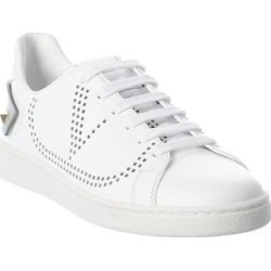 Valentino Vlogo Signature Leather Sneaker (38), Women's, White found on Bargain Bro Philippines from Overstock for $626.99