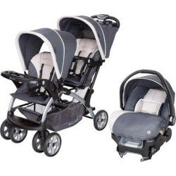 Baby Trend Sit N Stand Travel Double Baby Stroller & Car Seat Combo, Stormy   Wayfair SS76C81A + CS79C81A