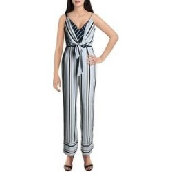 Adelyn Rae Womens Jumpsuit Woven Striped - White/Blue (White/Blue - XS), Women's(polyester) found on MODAPINS from Overstock for USD $22.49