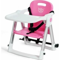 Costway Baby Booster Folding Travel High Chair with Safety Belt & Tray-Pink
