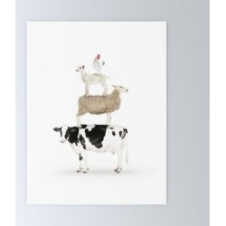 Mini Art Print | Four Stacked Farm Animals by Amy Peterson Art Studio - Without Stand - 3