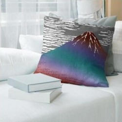 Porch & Den Katsushika Hokusai 'Fine Wind Clear Morning' Throw Pillow (20 x 20 - Red & Blue Ombre - Linen), Multicolor found on Bargain Bro from Overstock for USD $55.85