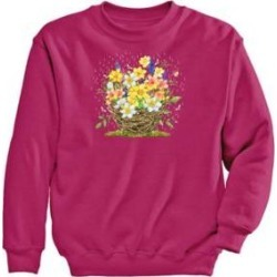 Women's Plus Graphic Sweatshirt – Daffodils, Cyber Pink/Daffodils 2XL found on Bargain Bro Philippines from Blair.com for $31.99