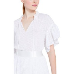 Julius Ruffle Sleeve Tunic - White - Alice + Olivia Tops found on MODAPINS from lyst.com for USD $100.00