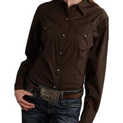 Roper Western Shirt Womens Long Sleeve Solid Brown (S), Women's(cotton) found on Bargain Bro India from Overstock for $46.94