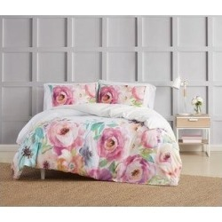 Christian Siriano NY Spring Flowers 3 Piece Duvet Cover Set (King), Pink found on Bargain Bro from Overstock for USD $60.78