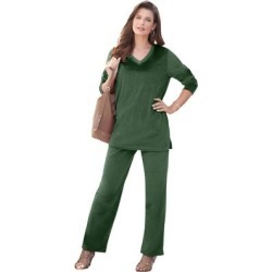 Plus Size Women's Velour Jogger Set by Roaman's in Midnight Green (Size 26/28 WP) found on Bargain Bro Philippines from fullbeauty for $18.98