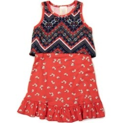 Pink Vanilla Girls' Casual Dresses REDY-NAVY - Red & Navy Floral Ruffle-Hem Sleeveless Popover Dress - Girls found on Bargain Bro Philippines from zulily.com for $14.99