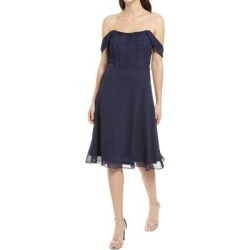 Cheri Embroidered Bodice Skater Dress - Blue - Chi Chi London Dresses found on MODAPINS from lyst.com for USD $130.00