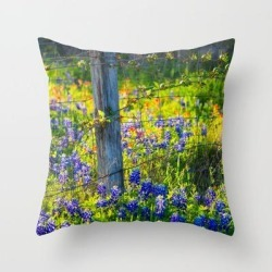 """Country Living - Fence Post And Vines Among Bluebonnets And Indian Paintbrush Wildflowers Couch Throw Pillow by Sean Ramsey - Cover (16"""" x 16"""") with pillow insert - Indoor Pillow"""