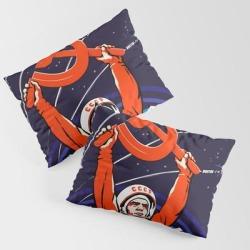 Soviet Propaganda. Yuri Gagarin King Size Pillow Sham by The Electric Joy Co. - STANDARD SET OF 2 - Cotton