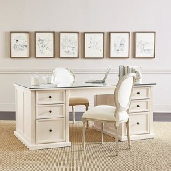 Tuscan Double Pedestal Desk with Glass Topper - Ballard Designs found on Bargain Bro India from Ballard Designs for $2799.00