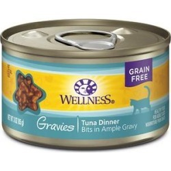 Wellness Natural Grain Free Gravies Tuna Dinner Canned Cat Food, 3-oz, case of 12