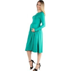 24seven Comfort Apparel Long Sleeve Fit and Flare Maternity Midi Dress found on Bargain Bro Philippines from Overstock for $41.49