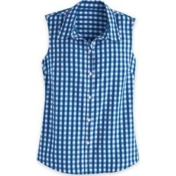 Women's Plus Fiesta Sleeveless Shirt, Classic Blue Gingham 3XL found on Bargain Bro India from Blair.com for $31.99