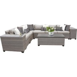 Florence 9 Piece Outdoor Wicker Patio Furniture Set 09b in Ash - TK Classics FLORENCE-09b-ASH