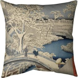 Porch & Den Utagawa Hiroshige 'Meguro Drum Bridge and Sunset Hill' Throw Pillow found on Bargain Bro from Overstock for USD $47.29