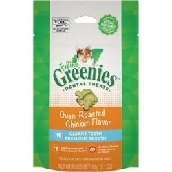 Greenies Feline Oven Roasted Chicken Flavor Adult Dental Cat Treats, 2.1-oz bag found on Bargain Bro Philippines from Chewy.com for $2.34