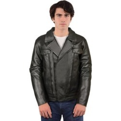 Men's Black Cowhide Leather Regular and Tall Sizes Vented Cruiser Jacket with Utility Pocket (BLACK-4XLARGE) found on Bargain Bro Philippines from Overstock for $177.99