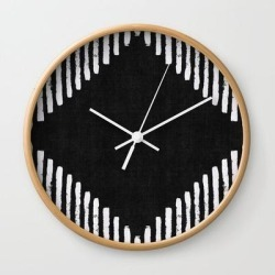 Diamond Stripe Geometric Block Print In Black And White Wall Clock by Becky Bailey - Natural - White found on Bargain Bro India from Society6 for $22.39