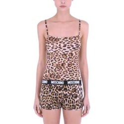 Moschino Underwear Animal Print Logo Band Microfiber Tank Top - S (Brown - S), Women's found on Bargain Bro from Overstock for USD $60.79