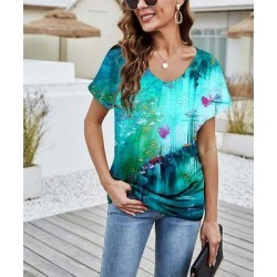 Camisa Women's Tee Shirts Green - Green Brushstroke Floral V-Neck Top - Women found on Bargain Bro from zulily.com for USD $12.91