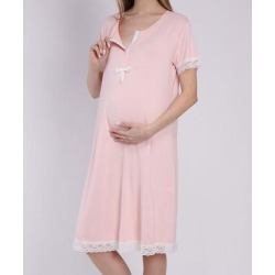 Luvmabelly Women's Nightgowns Blue - Pink & White Lace-Trim Bow-Front Maternity/Nursing Nightgown found on Bargain Bro India from zulily.com for $19.99