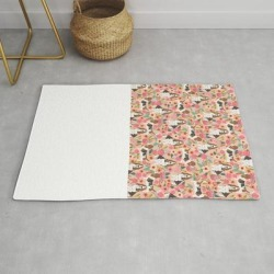 Modern Throw Rug | Basset Hound Florals Cute Pink Pastel Gender Neutral Dog Owner Breed Must Have Gifts Dog Art Pets by Petfriendly - 2' x 3' - Society6 found on Bargain Bro from Society6 for USD $29.79