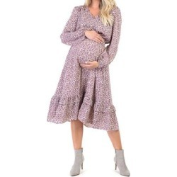 Mother Bee Maternity Women's Casual Dresses LilacFloral1 - Lilac Floral Smocked-Waist Maternity Midi Dress found on Bargain Bro Philippines from zulily.com for $24.99