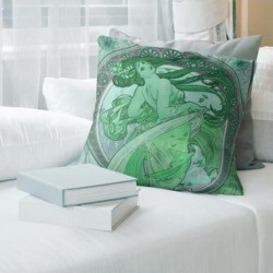 Porch & Den Alphonse Mucha 'The Dance' Throw Pillow (18 x 18 - Green - Polyester) found on Bargain Bro from Overstock for USD $41.79
