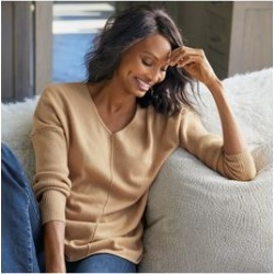 Women's Etta Cashmere Pullover Top by Soft Surroundings, in Camel size XS (2-4)