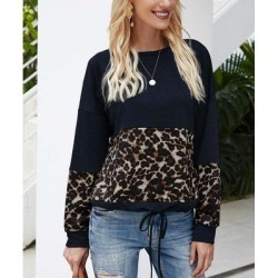 Supreme Fashion Women's Tee Shirts NAVY - Navy Leopard Color Block Drawstring-Hem Long-Sleeve Top - Women found on Bargain Bro Philippines from zulily.com for $16.99