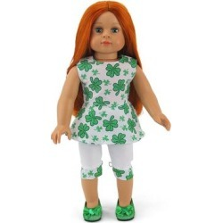 American Fashion World Doll Accessories - Green Four-Leaf Clover Outfit for 18'' Doll found on Bargain Bro Philippines from zulily.com for $7.99