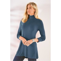 Women's Tahira Turtleneck Top by Soft Surroundings, in Navy size XS (2-4)