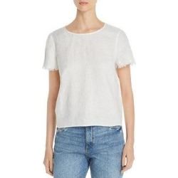Vince Camuto Womens Pullover Top Linen Frayed Sleeves (Shell White - XL), Women's, White White found on Bargain Bro India from Overstock for $24.99