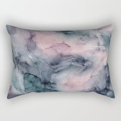 Rectangular Pillow | Blush Gray Blue Flowing Abstract Glow Up 1 by Elizabeth Karlson Art - Small (17