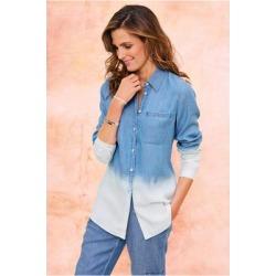 Women's Sambar Tencel™ Chambray Shirt by Soft Surroundings, in Light Chambray size XS (2-4)