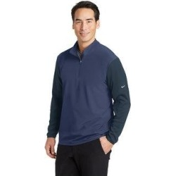 Nike Men's Dri-FIT Fabric Mix 1/2 Zip Cover-Up (Medium - Midnight Navy), Blue(knit, Solid) found on Bargain Bro from Overstock for USD $54.71