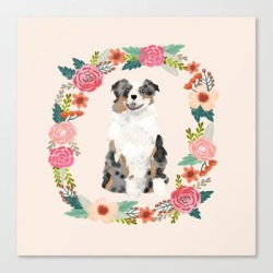 Canvas Print | Australian Shepherd Blue Merle Floral Wreath Dog Gifts Pet Portraits by Petfriendly - LARGE - Society6 found on Bargain Bro Philippines from Society6 for $133.69