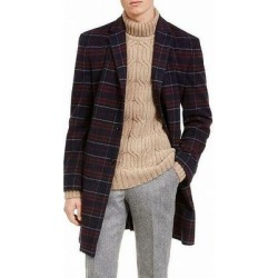 Tommy Hilfiger Mens Coat Red Blue Size 46R Overcoat Plaid Printed Wool (46R), Men's found on Bargain Bro Philippines from Overstock for $216.97