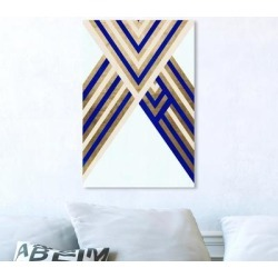 Oliver Gal Abstract Wall Art Canvas Prints 'Intersecting Lanes Gold' Geometric - Gold, Blue found on Bargain Bro Philippines from Overstock for $99.99