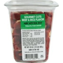 Meaty Treats Gourmet Beef & Rice Flavor Cuts Soft & Chewy Dog Treats, 20-oz canister