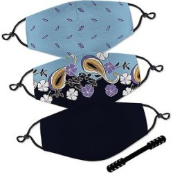 SAKURAFINA Women's Fabric Face Masks - Blue & Black Floral 4-Piece Non-Medical Face Mask & Strap Set found on Bargain Bro Philippines from zulily.com for $9.99