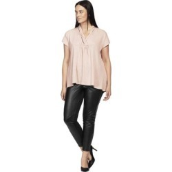 Plus Size Women's Faux Leather Front Ponte Leggings by ellos in Black (Size 20) found on Bargain Bro Philippines from Ellos for $44.90