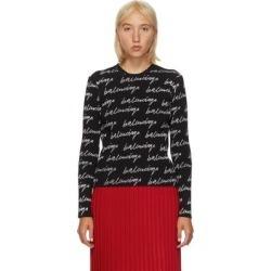 Black And White Rib Allover Signature Logo Sweater - Black - Balenciaga Knitwear found on Bargain Bro from lyst.com for USD $752.40