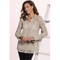 Women's Francesca Shirt & Cami by Soft Surroundings, in Tan/Gold size XS (2-4)