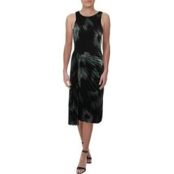 Halston Heritage Women's Printed Ruched Faux Wrap Sleeveless Cocktail Dress - Black Ocean (2), Black Blue(nylon) found on MODAPINS from Overstock for USD $21.09